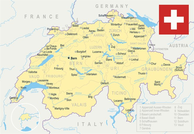 Map Of Switzerland I Stock -690036550